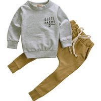 Wholesale baby leather shirts for sale - Group buy Kids Boys Winter Clothes Set Newborn Toddler Kids Baby Boy Clothes T shirt Hoodie Tops Long Pants Outfits Set Y1893005