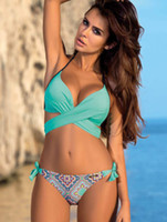 Wholesale Women Swimsuits Large - Ladies Sexy Swimwear Bikini 2018 split cross hard bikini candy-colored large size swimsuit Beach Bathing Suit Vintage Bikini Set