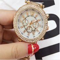 Wholesale Metal Clock Dials - High quality Rose gold watches women sports calendar watches diamond Simple white dial ladies designers brand luxury Metal bracelet clock