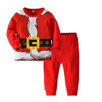 c757f8c343 Wholesale funny christmas pajamas for sale - Red Santa Claus Children Boys  Girls Cotton Pajamas Set