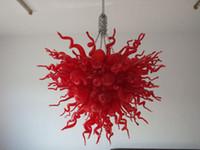 araña de color rojo al por mayor-Envío gratis Murano Glass Chandelier China Color rojo 100% hecho a mano de vidrio soplado Chandeliers LED Chandelier para la decoración casera