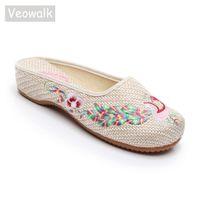 ingrosso scarpe piatte cotone cinese-vendita all'ingrosso Crane donne ricamate in cotone di lino pantofole vicino alle dita delle donne cinesi vintage slittamento sulle scarpe piatte Slide beige