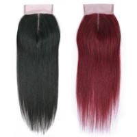 12-дюймовые человеческие волосы 99j оптовых-Бразильский малайзийский перуанский прямые человеческие волосы ткать 4x4 закрытия только натуральный черный #99J цвет кружева фронтальная закрытие 40 г / шт 10-18 дюймов