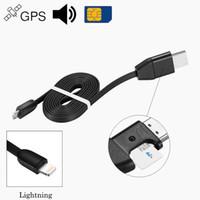 rastreador de vehículos gps de seguimiento al por mayor-Mini Rastreador GPS 2 en 1 para Vehículos y Cable de Cargador USB, Dispositivo de Seguimiento GSM GPRS en Tiempo Real - Soporte de Sonido de Audio SIM PQ602
