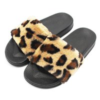 Wholesale fluffy animal slippers - Fasion Womens Ladies Sliders Leopard Fluffy Faux Fur Flat Slipper Flip Flop Sandal High quality women shoes Slipper casual shoeT