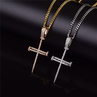 Wholesale nail materials online - Gold Zircon Nail Cross Pendant Gold Silver Copper Material Iced Out Cross CZ Pendants Necklace Chain Fashion Hip Hop Jewelry