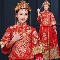 kaliteli gelinlik çini toptan satış-Yüksek kalite Çin Vintage cheongsam kırmızı çin tarzı akşam elbise gösterisi giyim gelin Gelinlik ejderha kıyafeti kostüm kimono Kıyafet