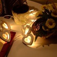 свадьба огни в форме сердца оптовых-NEW Design 20 LED 2 .2m Рождество Свадьба украшения теплых белые Деревянные форм сердца Строка Фея Свет Домашнее украшение