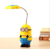 Wholesale minion led - New Baby Boys Girls Despicable Me Flexible Table Lamp Kids Cute Minions Folding Mini Lamps Children LED Eyeshield Night Light