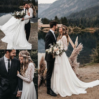 Wholesale two piece wedding dresses for beach for sale - Group buy Illusion A Line Two Pieces Beach Wedding Dresses With Long Sleeves Appliques Lace Boho Bridal Dresses Plus Size Weding Gowns For Brides