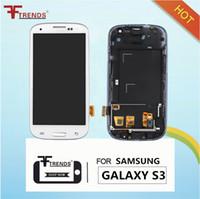 mavi s3 dokunmatik ekran toptan satış-Beyaz Mavi Ekran Samsung Galaxy S3 TFT için çerçeve ile dokunmatik digitizer ile lcd ekran meclisi i9300 i9305 L710 R530 i535 T999 i747