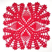 ingrosso doilies di cotone a maglia-Centrino uncinetto quadrato rosso, centrini rossi all'ananas, centrino in pizzo all'uncinetto, decorazioni per la tavola, centrino in cotone, coprivaso, decorazioni natalizie