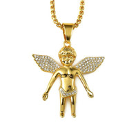 Wholesale Micro Angels - 2018 Men's Hiphop Jewelry Micro Angel Piece Necklace Charm Color Gold Chain Hip Hop Bling Jewelry Rappers Collier Female Gifts