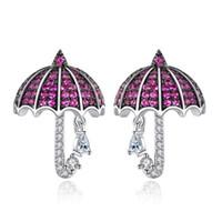 pendientes paraguas al por mayor-2019 diseñador de moda joyería de la boda Cubic Zirconia Hiphop pendientes para las mujeres CZ Diamond Umbrella Earrings joyería de la marca