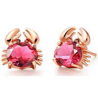 pendiente de oro lleno de rubí al por mayor-Ruby Amethyst Crystal Blue Stud Pendientes Cute Animal Earrings para mujeres Niñas 18k Rose Gold Filled Fashion Jewelry Gift Lovely Earrings