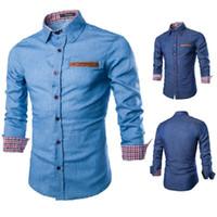 mens ince sığan denim gömlek toptan satış-Erkek Uzun Kollu Denim Gömlek Ekose Patchwork Gömlek Işık ve Koyu Mavi Slim Fit Gömlek Casual Gömlek Erkek için