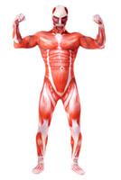 traje zentai de carne al por mayor-Ataque a los hombres de Titan Trajes de cosplay Titanes Musculoso Traje Muscular Traje Bertolt Hoover Lycra Carne Zentai Disfraz de Halloween