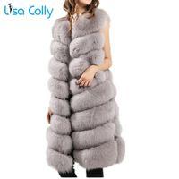 chalecos peludos al por mayor-Lisa Colly nuevas mujeres de piel sintética chaleco abrigo Furry Fake Fur invierno cálido chaleco abrigo chaqueta de lujo prendas de vestir exteriores largo Fox