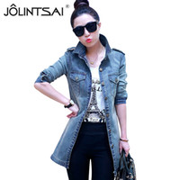 Wholesale ladies denim jacket xl - New Casual Ladies Jean Jackets Fashion All Match Womens Denim Coats 2017 Long Sleeve Mid-length Chaquetas Mujer Slim Jacket