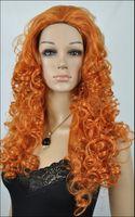 ingrosso parrucche ricci lunghe auburn-Nuova Principessa Brave Auburn Red Ondulata Riccia Lunga Parrucca Cosplay Parrucca + Cappuccio