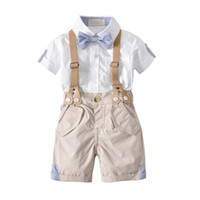Wholesale Baby Boy Overalls 18 Month - 2018 Summer Baby Boy clothes Outfit Gentle Bow shirt + Overall shorts England style 100% Cotton Toddler Wedding Party clothes Wholesale 1-4T