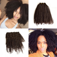 Wholesale thick human hair clips for sale - Group buy Double Weft Remy Human Hair Clip in Extensions inch Thick Long Afro Kinky Curly for Women FDshine