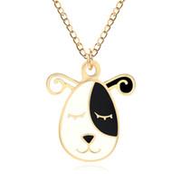 ingrosso catene di cani neri-Collana di cane cucciolo di smalto bianco nero simpatico cartone animato per le donne animale oro catena choker pet pendente corgi gioielli colar all'ingrosso