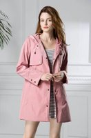 Wholesale Blue Trench Coats - New 2018 Springwomen fashion England middle long style trench coat high quality brand name thin casual trench jacket B8230F320 pink, blue