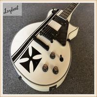 siyah parçalar elektrikli gitar toptan satış-Elektro gitar abanoz klavye, siyah crossing.white düz renk. siyah parçaları, ücretsiz kargo, yüksek sınıf!