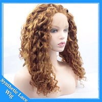Wholesale afro jerry kinky hair resale online - Honey Blonde Synthetic Afro Kinky Curly Hair Wig For Women Short Kinky Hair Jerry Curly Resistance Fiber Blonde Synthetic Lace Front Wig