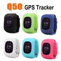 gsm sos izleyin toptan satış-Çocuklar smartwatch q50 smart watch lcd lbs gps izci sim telefon saatler sos ile çağrı emniyet çocuk çocuk anti-kayıp quad band gsm ios android için