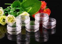 ingrosso vasi rotondi di plastica trasparente-Vaso per vasetti da 3 g di vasetto trasparente trasparente, contenitore in plastica trasparente per la conservazione delle unghie C153