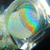 uv brilho gel esmalte venda por atacado-0.5g Atualizado Nail Art Laser Holo Brilhante Em Pó Magic Rainbow Espelho Em Pó Glitter Cromo Pigmento Poeira Manicure Gel UV polonês Novo