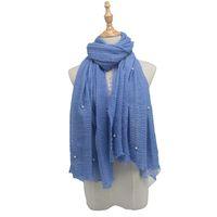 гладкие джерси-шарфы оптовых-Women Plain Jersey with  Scarf Wrap Cotton Elasticity Shawls Maxi Hijab Pearl Muslim Headband Islam Scarf Wrap Hijab