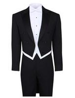 terno de fraque preto venda por atacado-Black White Tailcoat Casamento Suit Pico Lapela 4 Peças (Jacket + Pants + colete + Gravata) Homens Ternos para Festa À Noite Homecoming Prom Smoking