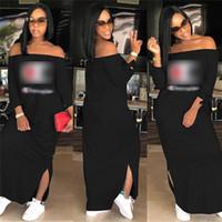 4165d8398be79 off shoulder elbise giyim toptan satış-Kadın Şampiyonlar Mektup Elbise  Marka Omuz Dışarı Bölünmüş Uzun