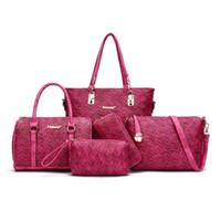 5er set handtaschen großhandel-2018 Neue Frauen Luxury 5 stücke Composite Umhängetaschen Damen Handtaschen Kupplungen Taschen Set Hohe Qualität Sac Ein Haupt Femme De Marque
