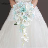 cala broches de la boda del lirio al por mayor-Titular de ramos de boda Cascada azul Cristales de lirio blanco Ramo de novia para ramillete de dama de honor Ramo de mariage