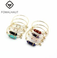 Wholesale copper winding wire - FOMALHAUT Fashion Simple Natural color stone Copper wire wound bracelets & bangles for women XX-98