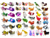 Wholesale toy seal animal - Walking Pet Animal Helium Aluminum Foil Balloon Automatic Sealing Kids Baloon Toys Gift For Christmas Wedding Birthday Party Supplies