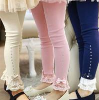 leggings de invierno de chicas coreanas al por mayor-Vieeoease Girls Tights Ropa para niños de Navidad 2018 Otoño Invierno Moda coreana Lace Bow Niñas Princesa Leggings EE-1136