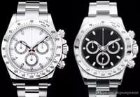 paslanmaz çelik kronograf saat tedarikçileri toptan satış-Fabrika Tedarikçisi Lüks erkek Izle 40mm 116520 Otomatik Mekanik Siyah Beyaz Dial Paslanmaz Çelik Erkek Saatı Yok chronograph