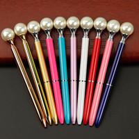 Wholesale metal ballpen online - Pearl Ball Pens Ballpen Fashion Girl Big pearl Ballpoint Pens Pens For School Stationery Office Supplies