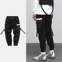 taschenbänder großhandel-Strapback Mens New Schwarz Twill CasuaL Jogger Hosen Streetwear Mode Hip Hop Taschen Tapes Elastische Taille Casual Hosen Jogginghose Hosen