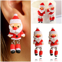 Brincos criativos do Papai Noel Cute Soft Polymer Clay Ear Stud Earrings Moda Mulheres Natal New Year Gifts Jóias D450L