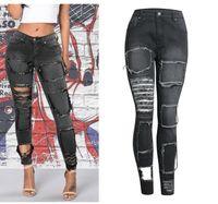 Wholesale button lifts - Fashion Womens Cool Black Beggar Elastic Slim Hole Jeans Butt Lift Trousers Plus Size Pants Stretch