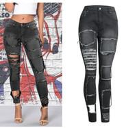 ingrosso più i jeans di sollevamento del culo di formato-Moda Donna Cool Black Beggar Elastico Slim Hole Jeans Butt Lift Pantaloni Stretch taglie forti