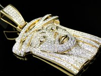 Wholesale Yellow Gold Jesus Pendant - Mens Solid Yellow Gold VS Real Diamond Mini Jesus Face Piece Pendant Charm 7.5 C