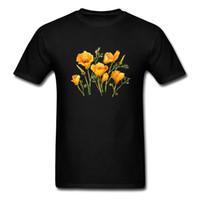 camisa de flores negras de las mujeres al por mayor-Acuarela Flor T-shirt Mujer Camiseta Hombres Camiseta de California Amapolas Impreso Algodón Ropa Negro Top Sudaderas al por mayor