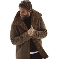 ingrosso giacche in pelle-Giacca invernale da uomo Giacca in pelle da uomo vintage Giacca in pelliccia Giacca in similpelle Marrone Bomber in pelle Bottone in shearling